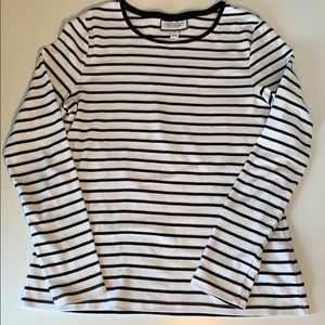 Charter Club long sleeve cotton striped tee size M